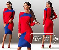 2fb24d926f7 Красивое облегающее красное платье-миди с синими вставками. Арт-3242 23