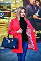 Пальто женское весеннее с подкладкой - Коралловый