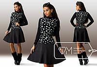 Черное платье со вставкой из белых звездочек. Арт-3244/23