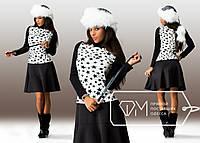 Черное платье с белой вставкой звезды. Арт-3244/23