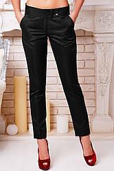 Элегантные женские черные брюки с подвором и стрелкой