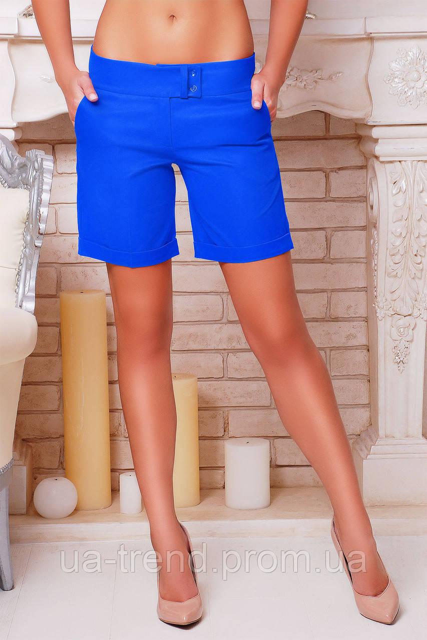 Удлиненные женские шорты с подворотом синие