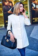 Пальто женское весеннее с узорами - Молочный