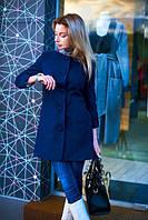 Пальто женское весеннее с узорами - Синий