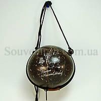 Сумка из кокоса с рисунком (На шею, черная)