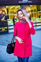 Пальто женское весеннее с узорами - Малиновый