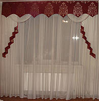 Жесткий ламбрекен Корона Бордо, 2,5м