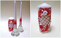 """Свадебные свечи """"Вальс"""" красные"""