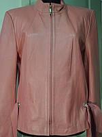 Куртка кожаная розовая на молнии стоечка длина -56см 48р-50р  ОГ-102 ОБ-106