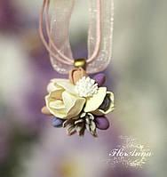 """""""Весенний день"""" авторский кулон/подвеска с цветами ручной работы. , фото 1"""
