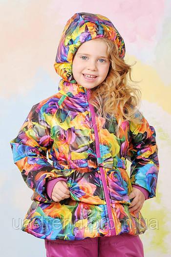 Куртка демисезонная для девочки рисунок розы