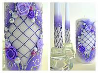 """Свадебные свечи """"Вальс"""" фиолетовые"""