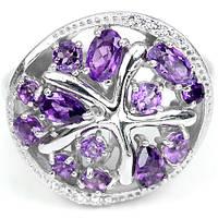 Серебряное Кольцо с Натуральными Аметистами и Cz