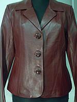 Пиджак из натуральной кожи цвет-бордо длина 54см 46р ОГ-96 ОБ-98