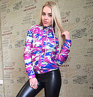 Куртка ветровка женская камуфляж - Сиреневый