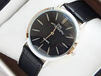 Мужские (Женские) кварцевые наручные часы Луч на кожаном ремешке. Супер тонкие!