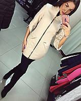 Женское кашемировое пальто Аригами цвета молоко и пудры АБ 0315