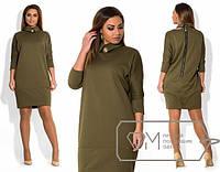 Платье женское оливковое с воротником ОМ/-296 48, электрик