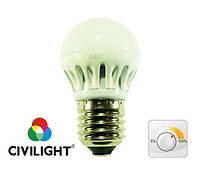 Світлодіодна лампа DG45 K2F40Т6 metal диммируемая, 6 Вт, 470 лм, 2700К, Е27