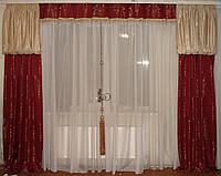 Ламбрекен  и шторы Корона со стеклярусом, 3м терракот