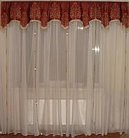 Ламбрекен Корона со стеклярусом, 2,5м терракот