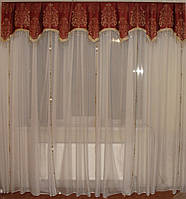 Ламбрекен Корона со стеклярусом, 2,5м терракот, фото 1