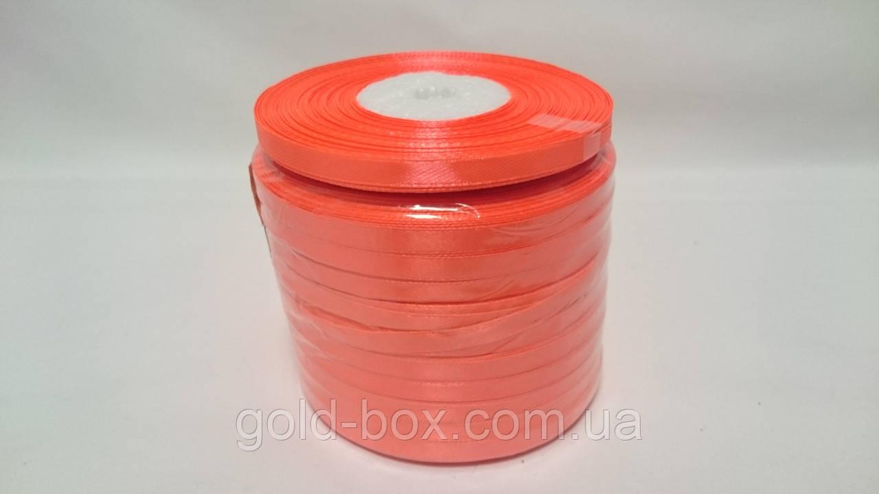 Лента атласная 0,5см / 33метра ярко-оранжевая
