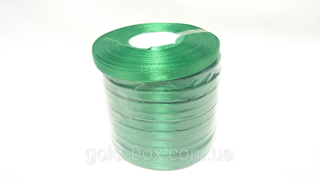 Лента атласная 0,5см / 33метра зелёная