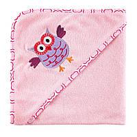 Полотенце с уголком Розовая Совушка, Luvable Friends, Сова, 76х76см