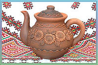 Глиняный заварник. Керамика. Посуда в украинском стиле