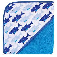 Полотенце с уголком синие Акулы, Luvable Friends, 76х76см с вешалкой