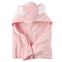Полотенце с капюшоном Carters велюр-махра Розовый слоник , 76х76см