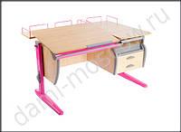 Парта-трансформер «Дэми» СУТ.17.04-04 с раздельной столешницей, цвет клен/розовый. Купить парту Дэми Киев