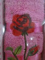 Подарочное полотенце Gulcan роза махра - Турция 1 шт. лицо 50х90  t70 -1