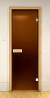 Стеклянные двери для сауны 80х210 бронза матовая (Украина)
