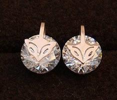 Сережки CARTIER ювелірна біжутерія золото 14К декор кристали Swarovski