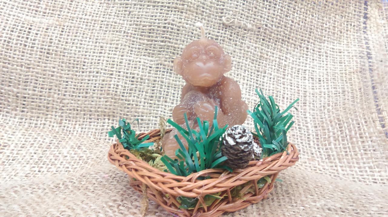 Свеча обезьянка в корзинке