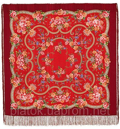 Пелагея 1544-5, павлопосадский платок шерстяной (с просновками) с шелковой бахромой