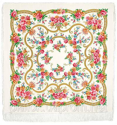 Пелагея 1544-1, павлопосадский платок шерстяной (с просновками) с шелковой бахромой