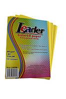 Бумага цветная A4/80 (100л.) лимонная Leader