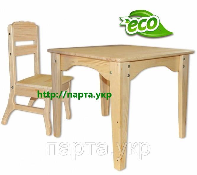 Детский столик со стульчиком детям от 2 лет (сосна)