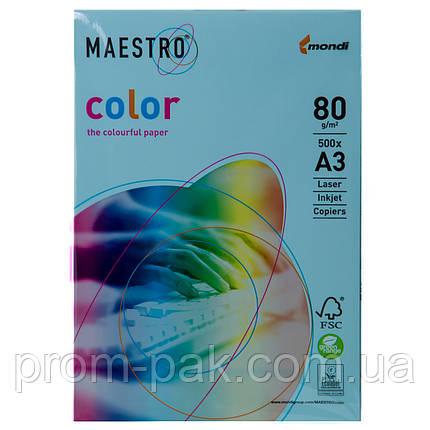 Цветная бумага Maestro А3 г/м² 80 пастель синий, фото 2
