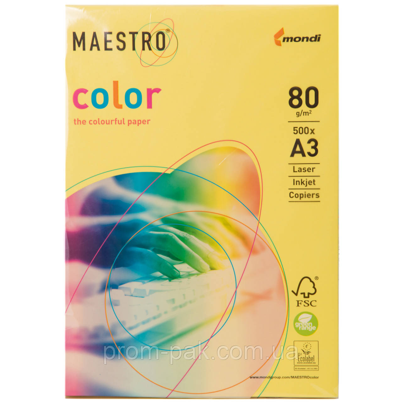 Цветная бумага Maestro А3 г/м² 80 интенсив желтый