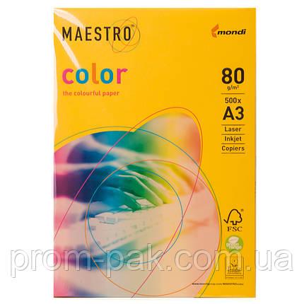 Цветная бумага Maestro А3 г/м² 80 интенсив темно - желтый, фото 2