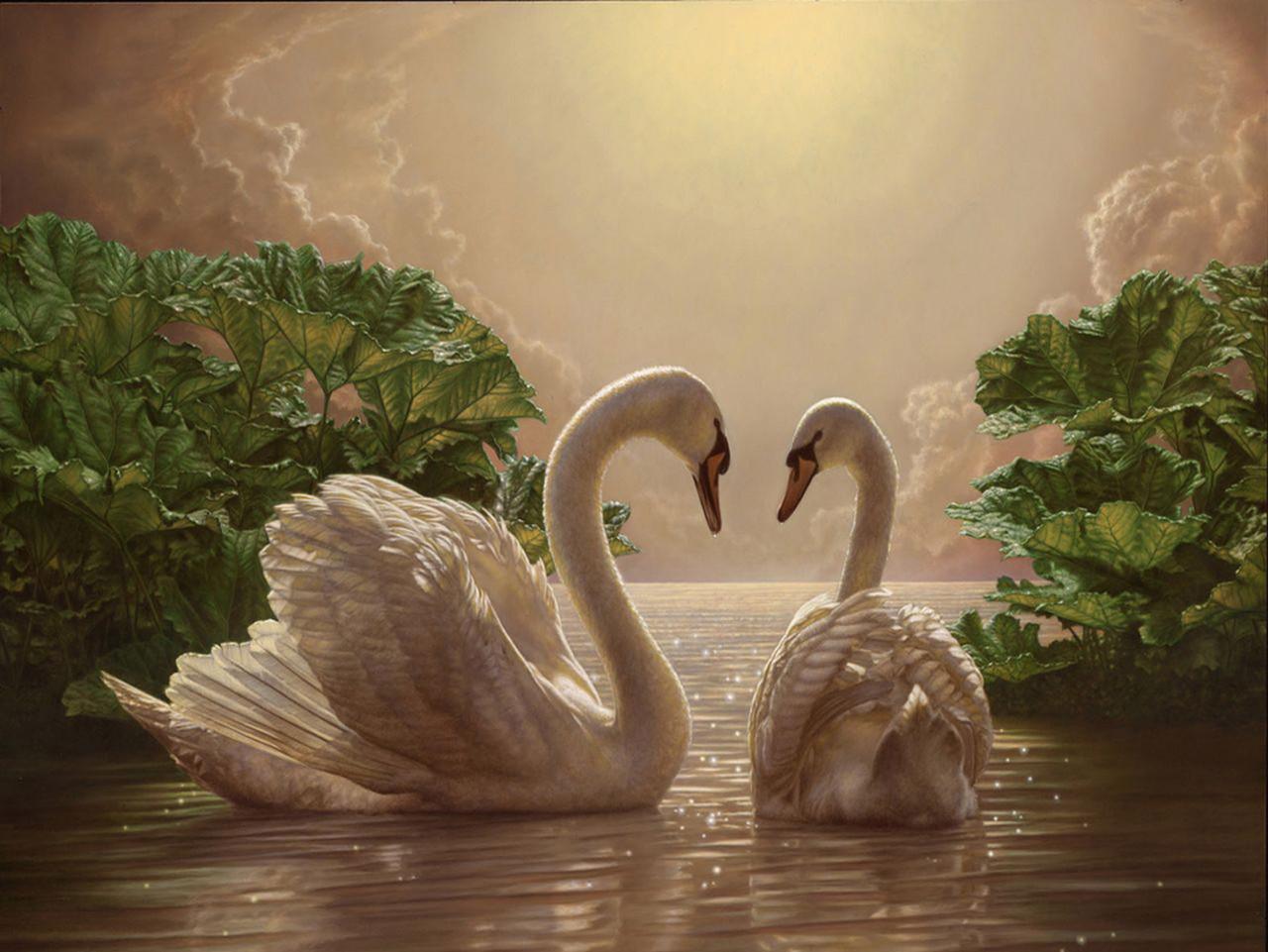 """Картина на стекле """"Лебеди"""""""