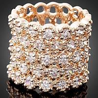 """Кольцо женское широкое """"Изумление II"""" с кристаллами Swarovski"""