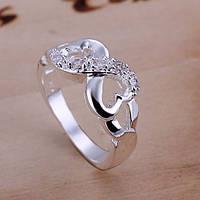 Кольцо женское с цирконием Бесконечность с цирконием с покрытием серебром