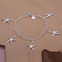 """Утонченный женский браслет на руку """"Морские звезды II"""" покрытие серебро"""