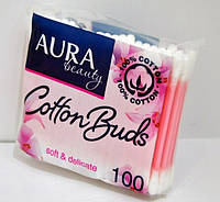 Палочки ватные Aura Beauty, № 100 п/э