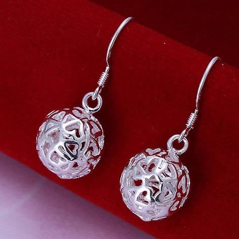 Женские серьги Резные шарики покрытие серебро, фото 2